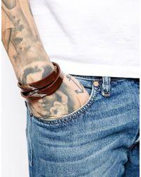 DIESEL   Brown Aberni Double Wrap Bracelet for Men   Lyst