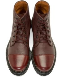 Marc Jacobs | Purple Burgundy Leather Combat Boots for Men | Lyst
