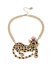 Betsey Johnson | Metallic Goldtone Crystal Leopard Frontal Necklace | Lyst