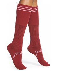 Kensie | Red Stripe Cuff Knee High Socks | Lyst