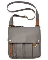 Fossil | Gray Morgan Leather Traveler Crossbody Bag | Lyst