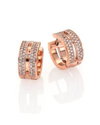 Michael Kors - Metallic Heritage Maritime Pavé Rose Goldtone Huggie Hoop Earrings/0.5 - Lyst