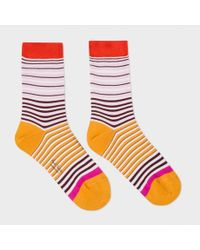 Paul Smith | Multicolor Women's Pink And Orange 'mainline Stripe' Socks | Lyst