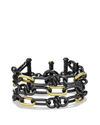 David Yurman | Metallic Black & Gold Three-row Chain Bracelet | Lyst