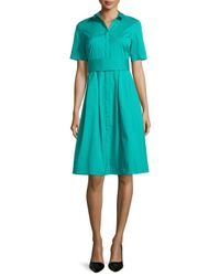 Lafayette 148 New York - Blue Rayenne Belted Short-sleeve Shirtdress - Lyst