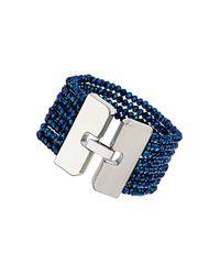 TOPSHOP - Blue Facet Bead Bracelet - Lyst