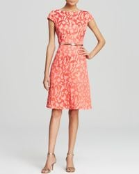 Anne Klein - Pink Dress - Cap Sleeve Jacquard Belted Swing - Lyst