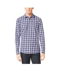 Michael Kors | Blue Tailored-fit Check Cotton Shirt | Lyst