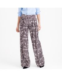 J.Crew | Purple Wide-leg Pant In Feather Print | Lyst