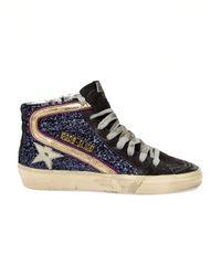 Golden Goose Deluxe Brand | Blue Glitter Hi-Top Sneakers | Lyst