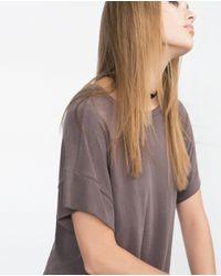 Zara | Brown Asymmetric Printed T-shirt | Lyst