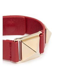 Valentino | Red 'rockstud' Macro Leather Bracelet | Lyst