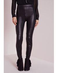 Missguided - Wet Look Biker Leggings Black - Lyst