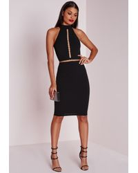Missguided - Sleeveless Gold Hoop Trim Midi Dress Black - Lyst