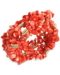 Kenneth Cole - Red Gold-tone Semi-precious Coral Chip Bead Stretch Bracelet - Lyst