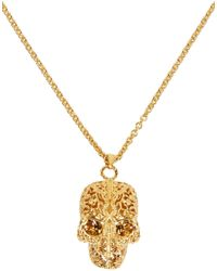 Alexander McQueen | Metallic Gold Filigree Skull Pendant Necklace | Lyst