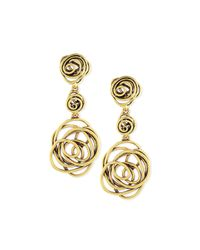 Oscar de la Renta - Metallic Wire Rose Clip-on Drop Earrings - Lyst