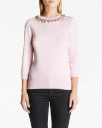 Ted Baker | Pink Jodi Embellished Jumper | Lyst