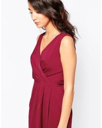 Closet - Red Closet Dress With Tie Front Detail - Burgandy - Lyst
