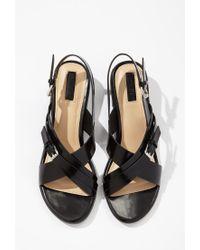 Forever 21   Black Crisscross-strap Slingback Sandal   Lyst