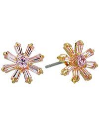 Betsey Johnson | Pink Cz Duos Flower Stud Earrings | Lyst