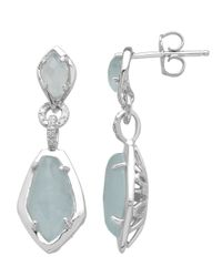 Lord & Taylor | Blue Sterling Silver Aqua Diamond Earrings | Lyst