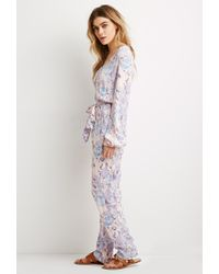 Forever 21 - Blue Belted Abstract Print Jumpsuit - Lyst