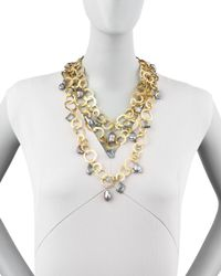 Devon Leigh   Metallic Triple-strand Flat-link Pearl Necklace   Lyst