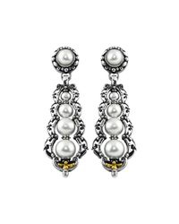 Konstantino | White Silver & 18k Graduated Pearl Drop Earrings | Lyst