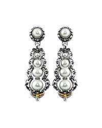 Konstantino - White Silver & 18k Graduated Pearl Drop Earrings - Lyst