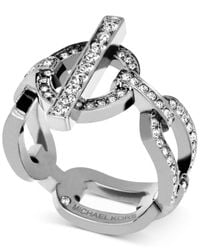 Michael Kors - Metallic Silver-tone Toggle Link Ring With Pavé Crystal Accents - Lyst