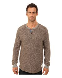 Lucky Brand | Brown Long Sleeve Heathered Henley for Men | Lyst