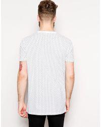 ASOS - Gray Longline T-shirt With All Over Polka Dot Print And Skater Fit for Men - Lyst