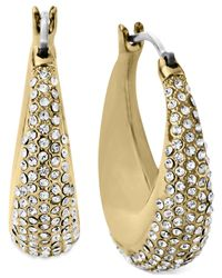 Michael Kors | Metallic Crystal Pavé Wide Hoop Earrings | Lyst