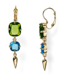 ABS By Allen Schwartz | Green Linear Stone Earrings | Lyst