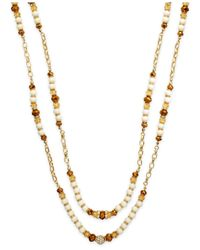 INC International Concepts | Natural Gold-tone Cream Double Row Long Necklace | Lyst