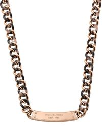 Michael Kors - Pink Curb-chain Plaque Necklace - Lyst