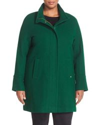 Ellen Tracy | Green Wool Blend Stadium Coat | Lyst