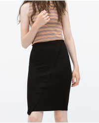 Zara | Black Midi Skirt | Lyst