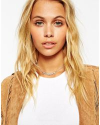 ASOS - Blue Semi Precious Stone And Leaves Choker Necklace - Lyst