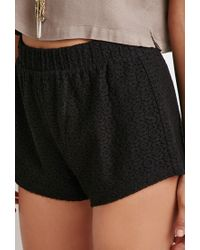 Forever 21 - Black Floral Lace Shorts - Lyst