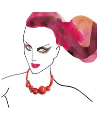 Marion Vidal - Red Silk Cord Ceramic Necklace - Lyst