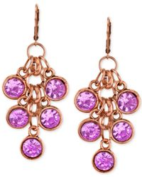 2028 | Metallic Copper-tone Amethyst Purple Cluster Drop Earrings | Lyst