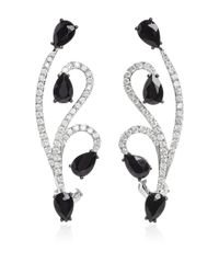 AS29 - Metallic White Gold And Onyx Lucy Earrings - Lyst