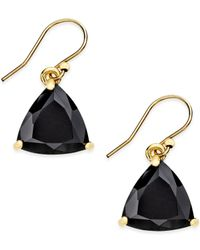 kate spade new york | Black Gold-tone Stone Drop Earrings | Lyst