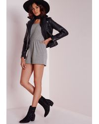 Missguided - Gray Jersey Bardot Romper Grey - Lyst