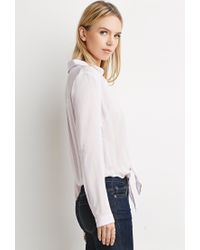 Forever 21 - Purple Contemporary Knot-front Shirt - Lyst