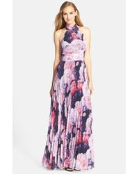 Lyst - Eliza J Floral Chiffon Maxi Dress in Purple abada9216