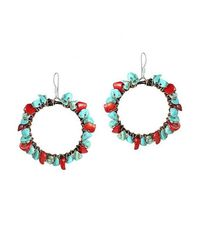 Aeravida | Copper Wire Turquoise And Redcoral .925 Silver Hoop Earrings | Lyst