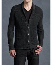 John Varvatos | Gray Shawl Collar Cardigan for Men | Lyst